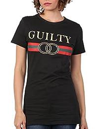 Pilot Women's Guilty Slogan Print T-Shirt in Black