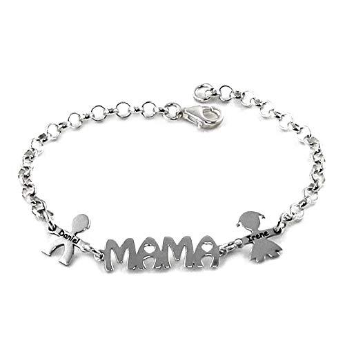 Silber Armband 19cm Rolo Kette 925m Law Center Side Kids Mom Benutzerdefinierte Namen Karabiner - Anpassbare - Aufnahme im Preis enthalten -