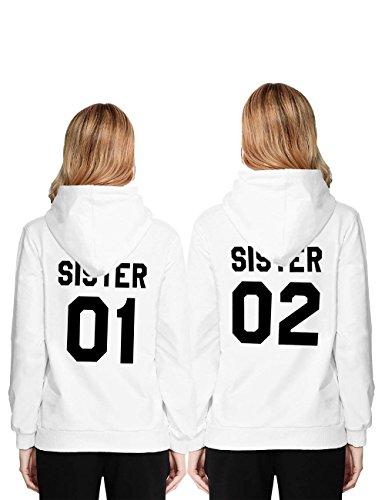 ORANDESIGNE Best Friend Hoodie Freunde Kapuzenpullover Damen Kapuzenpullis Sister Pullis Sweatshirt für Frauen Mädchen Weiß Sister 01 DE 38