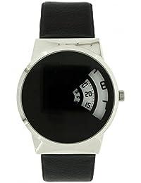 Softech hombres '' s reloj diseño salto hora disco tiempo pantalla negro correa de cuero