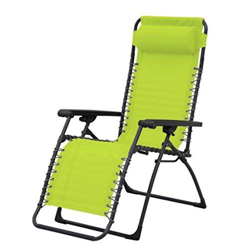 silvertree Relax-Liegestuhl Salzburg | Limone | wetterbeständig | stufenlos verstellbar | Zusammenklappbar | Nackenkissen | Strandliege | Armlehnen | Relaxliege | Entspannung