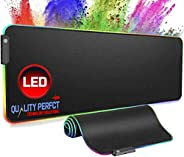 Quality Perfct Large RGB Gaming Mouse Pad Extended, Glowing Computer Keyboard Mousepad Water-Resistant with No