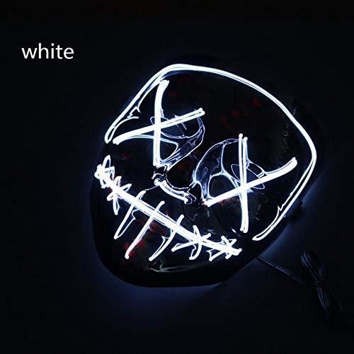 ZXIU Masken für Kostüme Maske Led Leuchten Party Masken Neon Cosplay Wimperntusche Horror Glow In Dark - Herr Dark Helm Kostüm