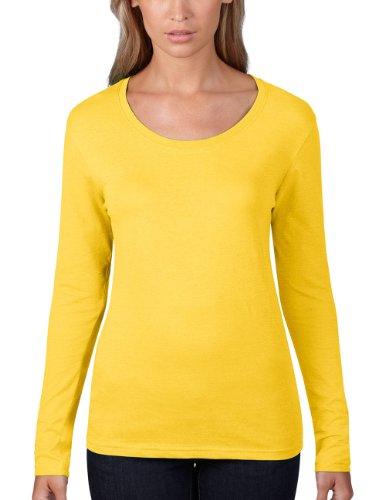 Minion Frauen Kostüm - Anvil Damen Lightweight Scoop Neck LangarmShirt / 399, Einfarbig, Gr. 44 (Herstellergröße: XL), Gelb (LZT - Lemon Zest 331)