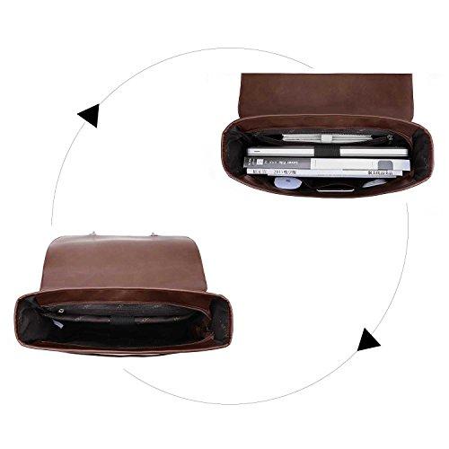 ECOSUSI Borsa Messenger in Pelle Pu Borsa Vintage Borsa a Tracolla per Laptop 14.7 Pollici (Caffè1)