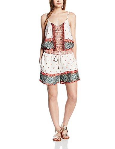 VERO MODA Damen VMLUPITA S/L Playsuit Jumpsuits, Mehrfarbig (Snow White AOP:Lupita Comb), 36 (Herstellergröße: S) (Kleidung Für Frauen Forever 21,)