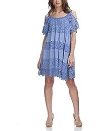 Laura Moretti - Vestido de seda con encaje floral y detalles bordados