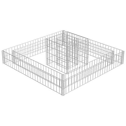 vidaXL Parterre surélevé carré en gabion à 2 étages Gabion avec jardinière