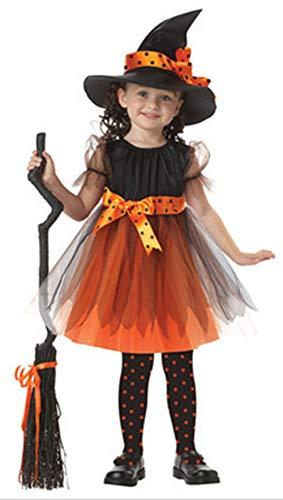 5ALL Halloween-Kostüm Kinder Hexenkostüm Cosplay Spitzenkleid mit Zaubererhut -