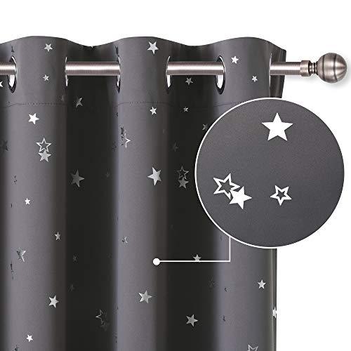 PONY DANCE Vorhang Blickdicht Kinderzimmer - Thermo Gardinen Blickdicht Sterne Vorhänge für Schlafzimmer Dekoschal Ösenvorhang, Grau, 2er Set H 137 x B 132 cm