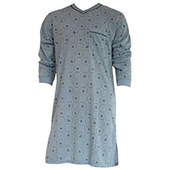 Herren Nachthemd mit langem Arm mit Motiv und V-Ausschnitt in 8 Farben Nr. 4940, Farbe:grau/grün;Größe:M