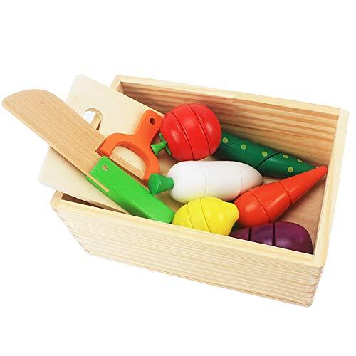 SXPC Holz Pretend Play Küche Set Simulation Schneiden Obst, Gemüse, Holz Messer Mit Holzkiste Kinder Spielzeug - Obst-bond