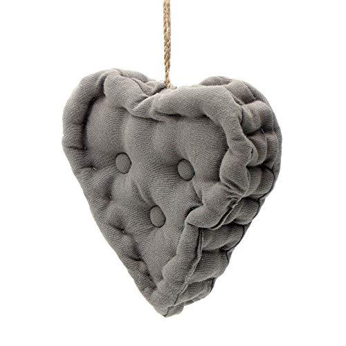 Blanc Mariclo Oreiller Pendentif, Coussin décoratif en Forme de Coeur, Coussin Coeur Shabby Chic et Romantique - Matelassé - 18x18 - Gris Foncé - 100% Coton