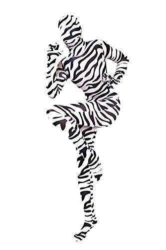 Lycra Ganzanzug Catsuit mit abnehmabarer Haube zebra Gr. (Zebra Catsuit)