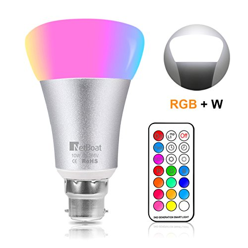 NetBoat Colour Changing Light Bulb B22, 10W Bayonet Led Colour Bulb Dimmable with Remote Control,12 Colours+ Daylight White 6500K Dual Memory Function Timing light for Party Bar Stage Bedroom Mood Ambiance Lighting