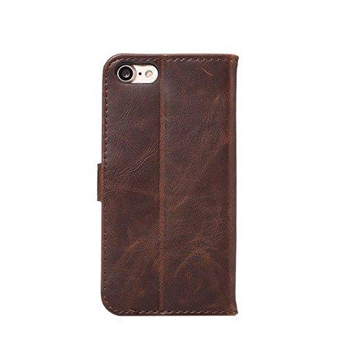 Crazy Horse Texture Faux Leder Geldbörse Tasche, Horizontale Folio Stand Case Cover mit Kickstand & Card Slots & Magnetische Verschluss für iPhone 7 ( Color : Gray ) Wine