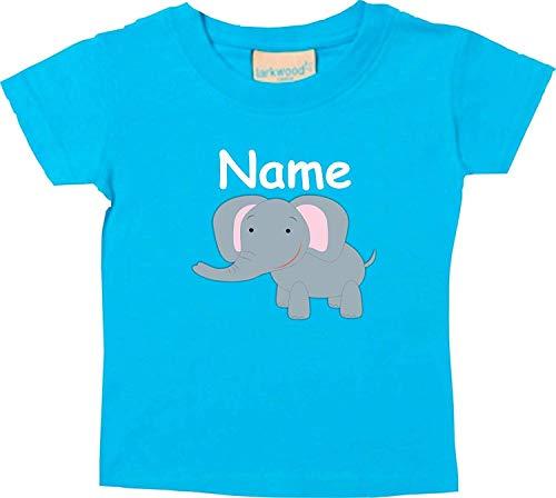 Shirtinstyle Bebé Camiseta, Elefante Animal Motivos con el Nombre Deseado - Tuerkis, 0-6 Monate