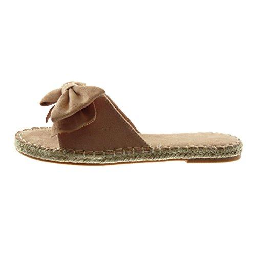 Angkorly Scarpe Moda Sandali Mules Slip-On Donna Nodo Finitura Cuciture Impunture Corda Tacco a Blocco 1.5 cm Rosa