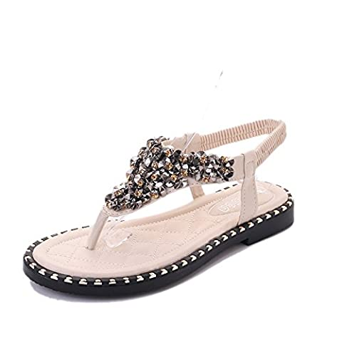 XY&GK Women's Sandals Summer Low Flat Bottom Toe Shoes With Beaded Sandals All-Match Sweet Women Students 35 White
