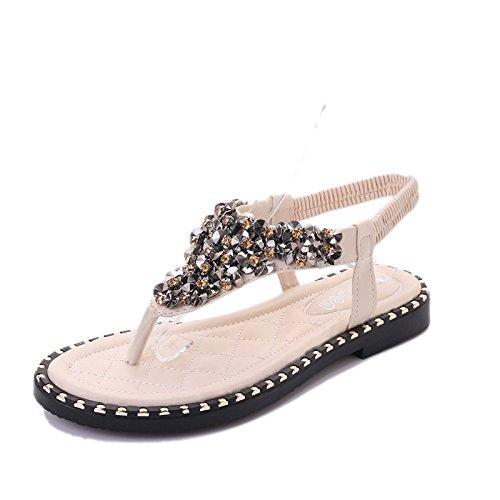 XY&GK Donna Sandali Estate bassa fondo piatto scarpe da punta con perline sandali dolce All-Match studenti donne White