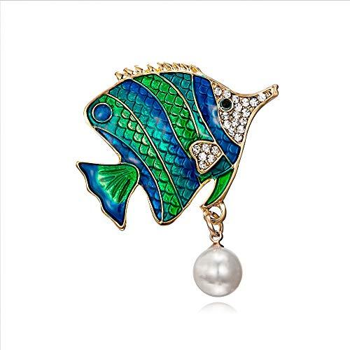 XZFCBH Broschen Schwimmen Fisch Brosche Blau Grün Emaille Tropische Fische Brosche Pins Männer Anzug Corsage für Frauen Mädchen Hemdkragen Kleid Brosche -
