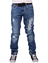 Peviani Hommes Garçons Oxford Étoile Coupe Slim Épais Jeans Couture Hip G Time Is Hop Money