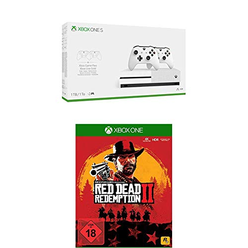 Xbox One S 1TB Konsole (inkl. 2. Controller + 3 Monate Gamepass + 14 Tage Live Gold) + Red Dead Redemption 2 [Xbox One]