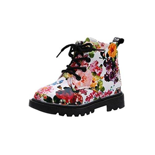 Kobay Mädchen Mode Blumen Kinderschuhe Baby Stiefel Beiläufig Kinder Stiefel (23 / 2Jahr, Weiß) -