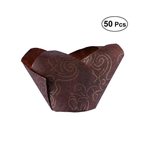 bestonzon Papierförmchen für Muffins und Cupcakes von Papier Wasserdicht In Braun 50pcs