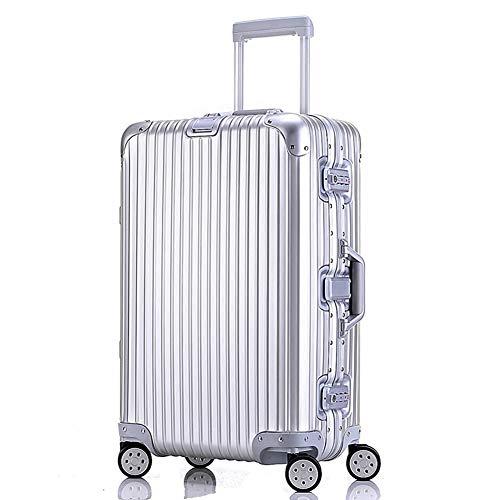 HBWJSH Koffer-Trolley-Trolley - Ganzmetall-Handgepäck aus Aluminium-Magnesium-Legierung, Silber, Größe 6 (Farbe : Silber, größe : 26 inches)