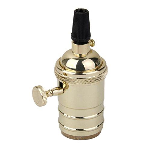 E27 Douille Ampoule à Interrupteur en Cuivre Support de Lampe Vintage - Doré