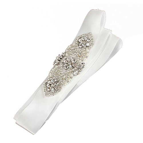 Brautgürtel, Strassgürtel, 270x2 cm, Satin, Vintage weiß, Vintage Gürtel zum Brautkleid,...