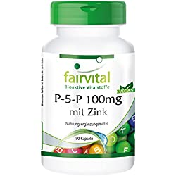 P-5-P 100mg mit Zink Vitamin B-6 - aktives Vitamin B6 - 90 Kapseln - Reinsubstanz
