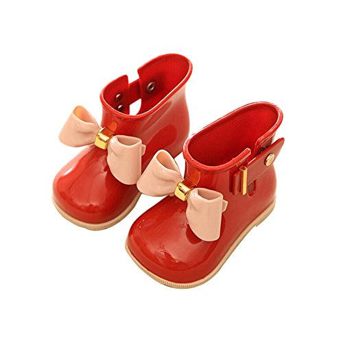 Meijunter Cute Girl Kids Baby Bow Anti-Skidding Rainboots Rubber Princess Rain Shoes Boots