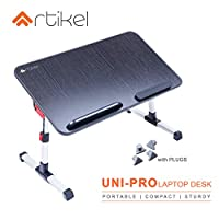 ‏‪Artikel Uni-Pro Laptop Desk | Study Table | Bed Table| Height & Tilt Adjustable | Left & Right Hand Mouse Compatible | Foldable and Portable | Non-Slip Legs | Carbon Black‬‏