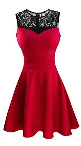 Damen ärmellos Rundausschnitt Falten A-Linie Partykleid Mini Cocktailkleid kurz Festliche Kleid (M, Rot mit schwarzer Spitze)