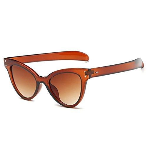 Dragon868 Sonnenbrille Damen Neutral Cateye Sonnenbrille Retro Herz Rahmen UV400 Brillen (Braun)
