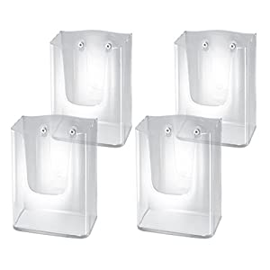 Sigel LH117/4 Wall-Mounted Literature Holder acrylic, with 1 compartment, for DL and A6 (pack of 4)