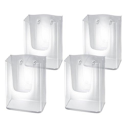 Sigel LH117/4 Wand-Prospekthalter für DIN lang/A6, aus Acryl, transparent, 4er Pack - weitere Größen