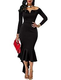 KISSMODA Womens Midi Robes Off La robe de soirée sirène haut moulante à manches courtes