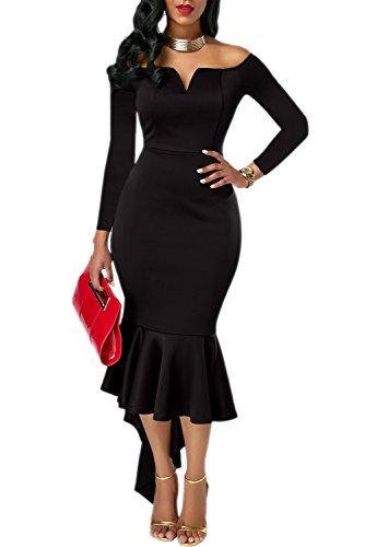 KISSMODA Damen Party Kleid Slim Fit Unique Hoch Saum Rock Einfarbig Schwarz X-Large