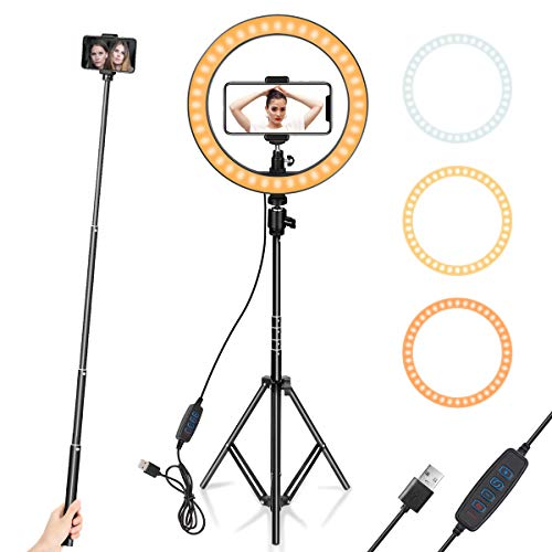 "Price comparison product image Ring Light 10"" with Tripod Stand & Phone Holder for YouTube Video,  Desktop Camera Led Ring Light for Streaming,  Makeup,  Selfie Photography Compatible with iPhone Android"