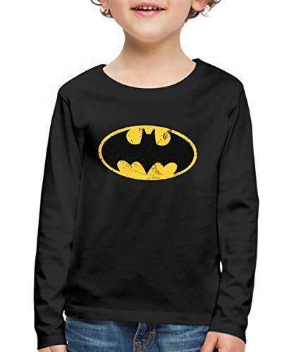 Superhelden Und Schnell Einfach Kostüm - DC Comics Batman Logo Used Look Kinder Premium Langarmshirt, 110/116 (4 Jahre), Schwarz