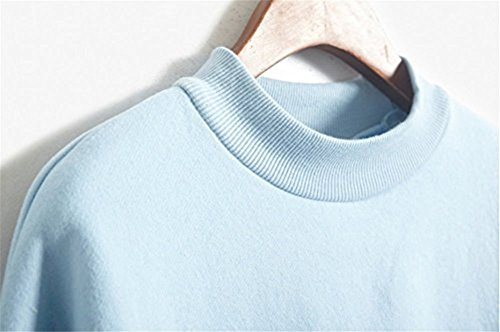 LifeWheel Mode Harajuku Art Frauen lose Fleece-Sweatshirt PulloverHoodies Bluse Tops Blau