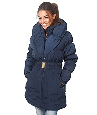 5464-NVY-16: Wing Collar Quilted Puffa Coat