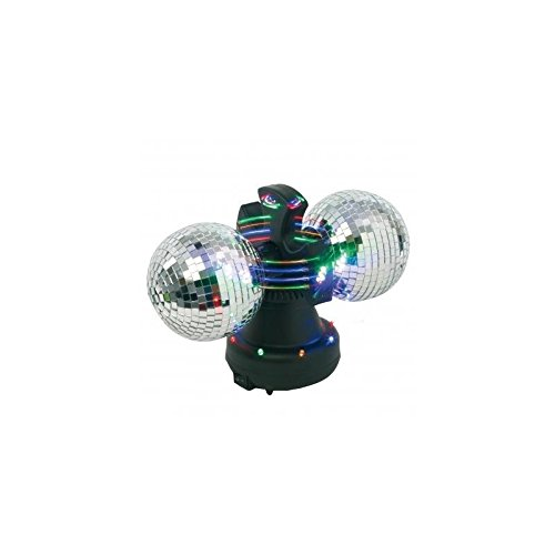 LAMPADA DISCO - Con 2 sfere a specchi, rotanti e luminose, e luci LED lampeggianti