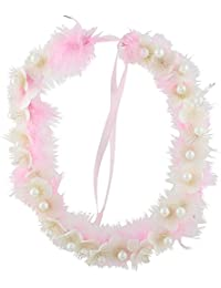 Pink Rose - Complement Collection Pink White Feather Pearl Princess Charm Hair Tiara For Women (Head Gear)