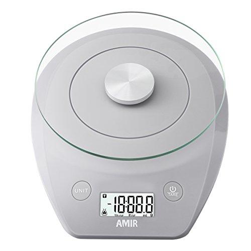 AMIR Digitale Küchenwaage, 5KG, 0.01oz/1g Digitalwaage mit Glas-Plattform, Präzision auf Electronische Waage, Küchenwaage, Briefwaage, Tara-Funktion, LCD-Display, Grau