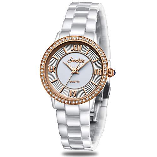 SUNKTA Frauen Uhren Analog Quarz Uhr Wasserdicht Rose Gold Keramik Armbanduhr Dame Mädchen Mode Elegant eiläufig Kleid hr chlank Einfach Gschäft Weiß