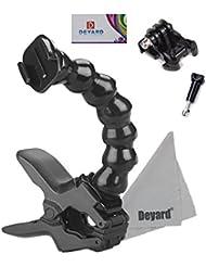 Deyard D050 Flex Clamp Cliphalterung + Verstellbarer Flexarm Einfassung + Quick Release Buckle + Lange Schraube Bolt + Deyard LCD-Wischer für GoPro HD Hero 4 3 + 3 2 Oberfläche